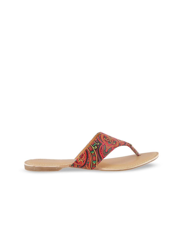 WALKWAY Women Red Printed Open Toe Flats