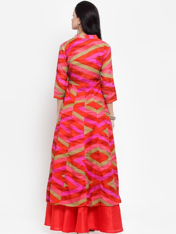 Get Glamr Women Red & Pink Printed Anarkali Kurta