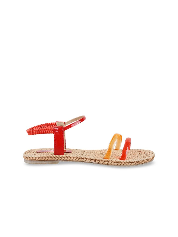 WALKWAY Women Red & Yellow Colourblocked Open Toe Flats