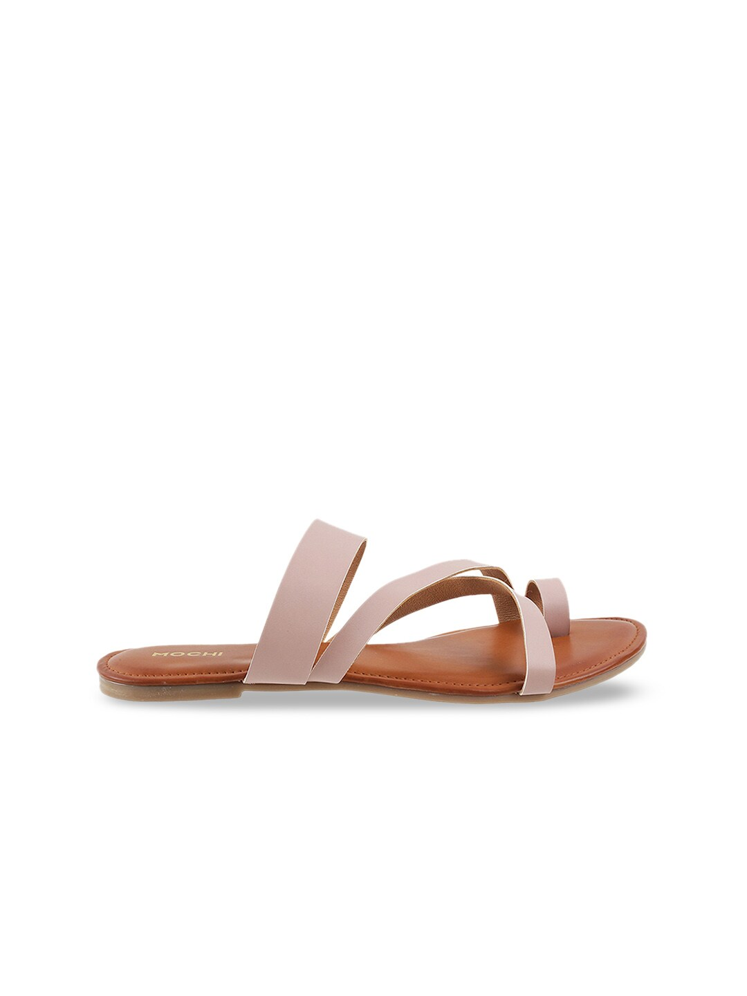 Mochi Women Peach-Coloured Solid One Toe Flats
