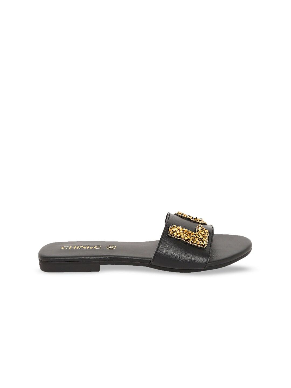 CHINI C Women Black Embellished Open Toe Flats