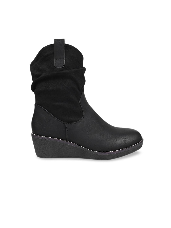 URBANE Women Black Solid Heeled Boots