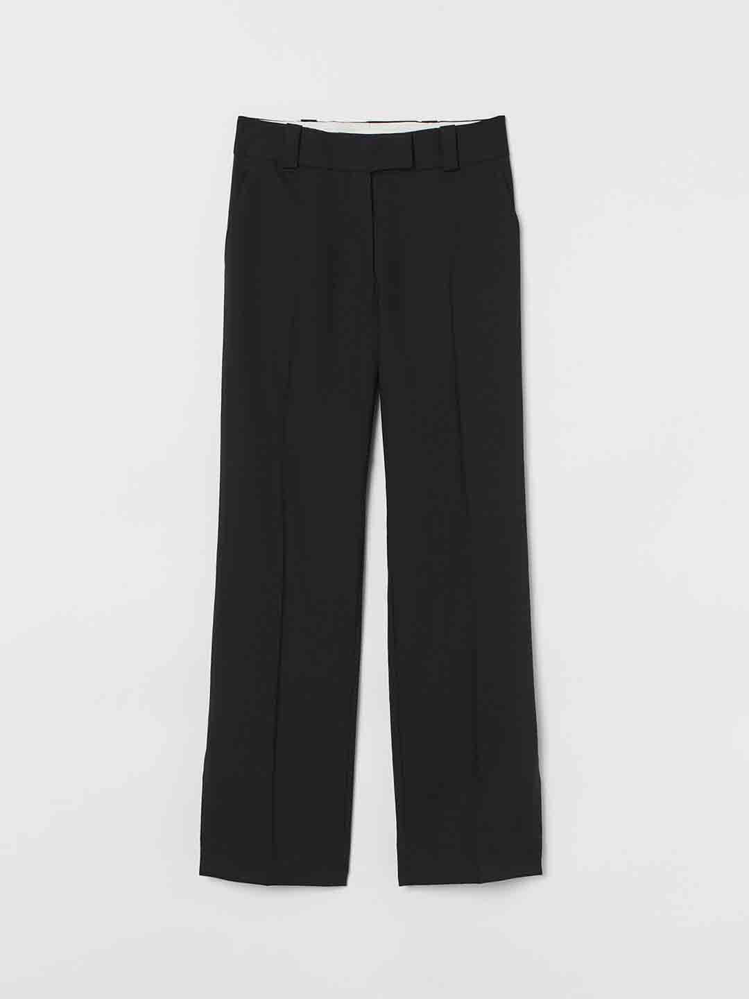 H&M Women Black Solid Wool-blend Trousers