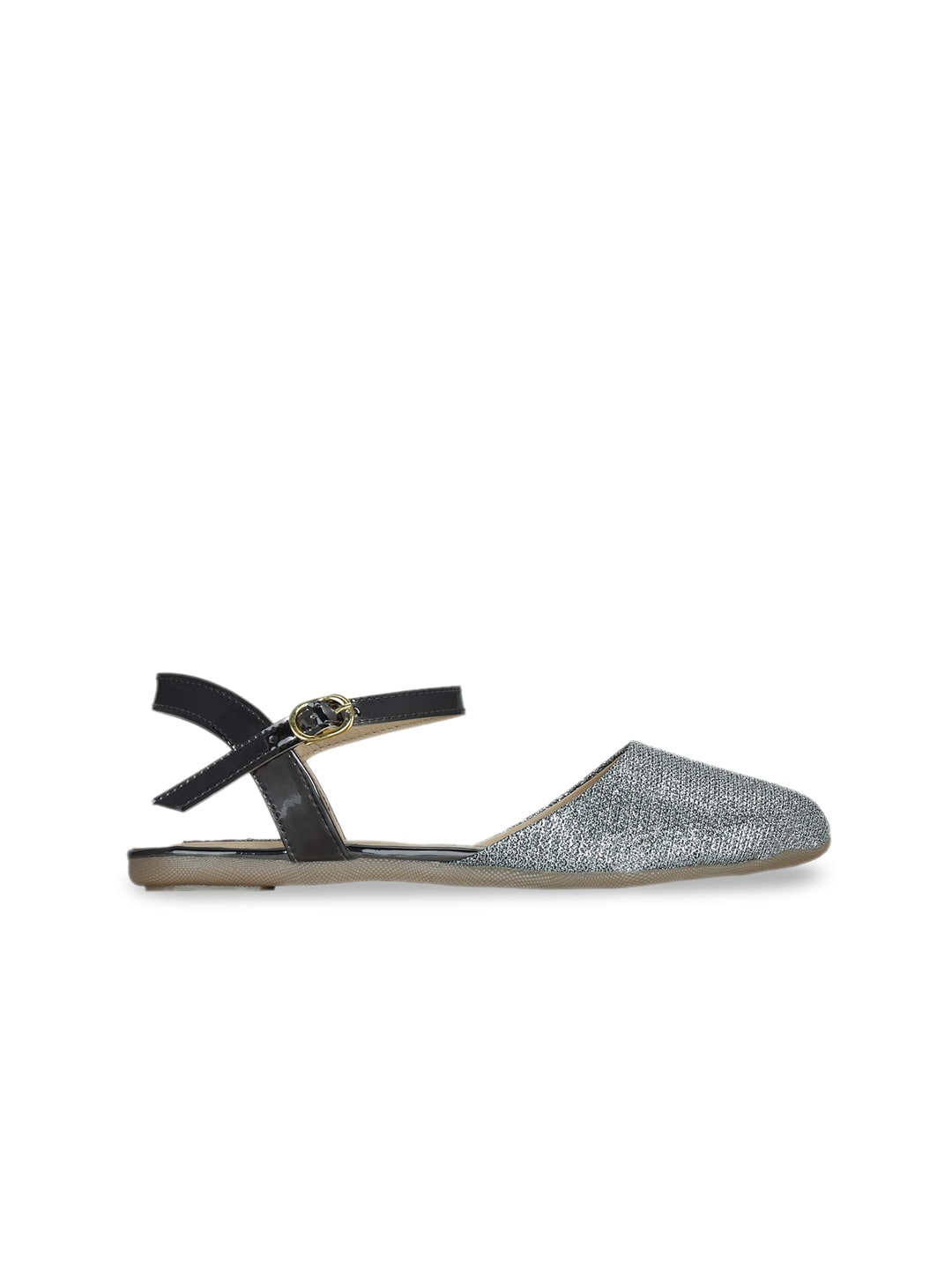 Get Glamr Women Silver-Toned Textured Gladiators