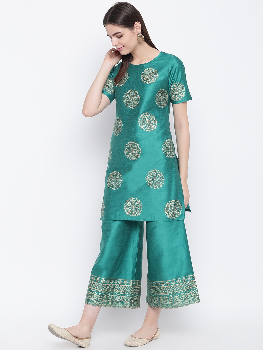 Shakumbhari Women Green & Gold-Toned Printed Kurta with Palazzos