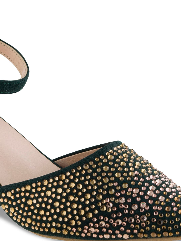 Sherrif Shoes Women Green Solid Pumps