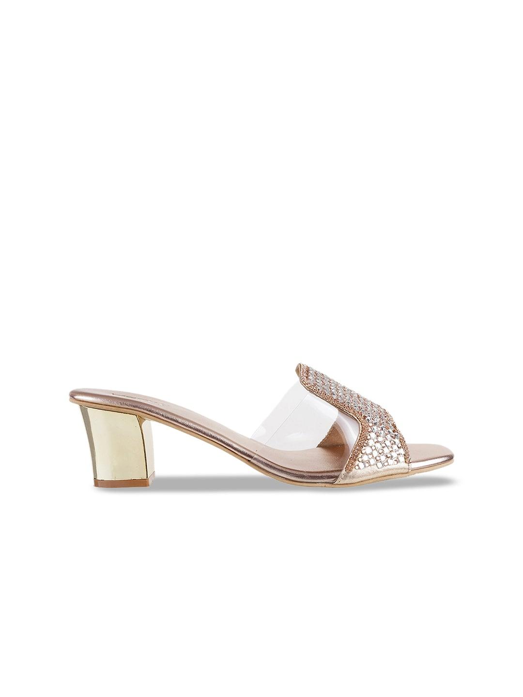 Metro Women Bronze-Toned & Transparent Embellished Heels