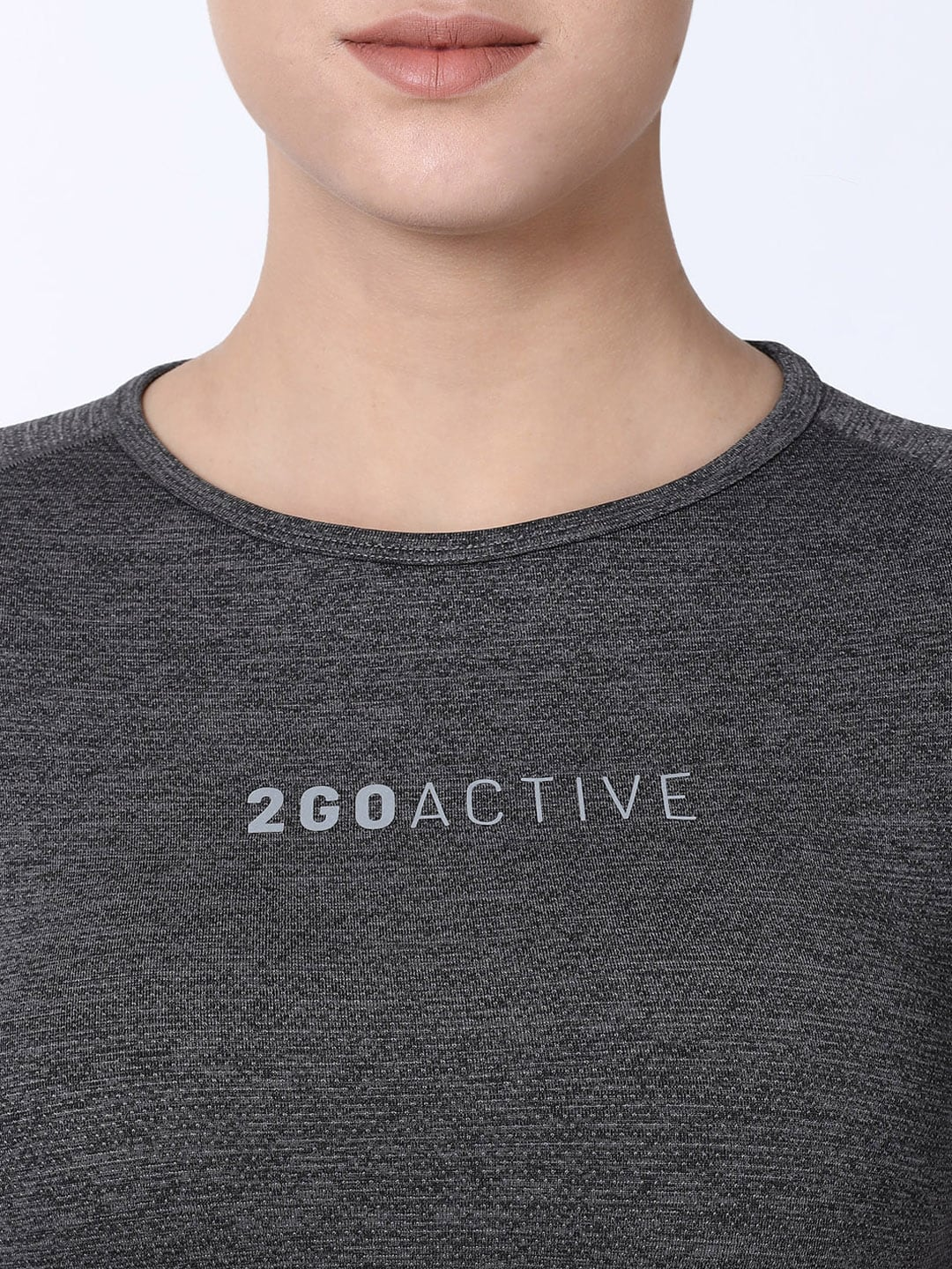 2GO Women Charcoal Solid Round Neck T-shirt