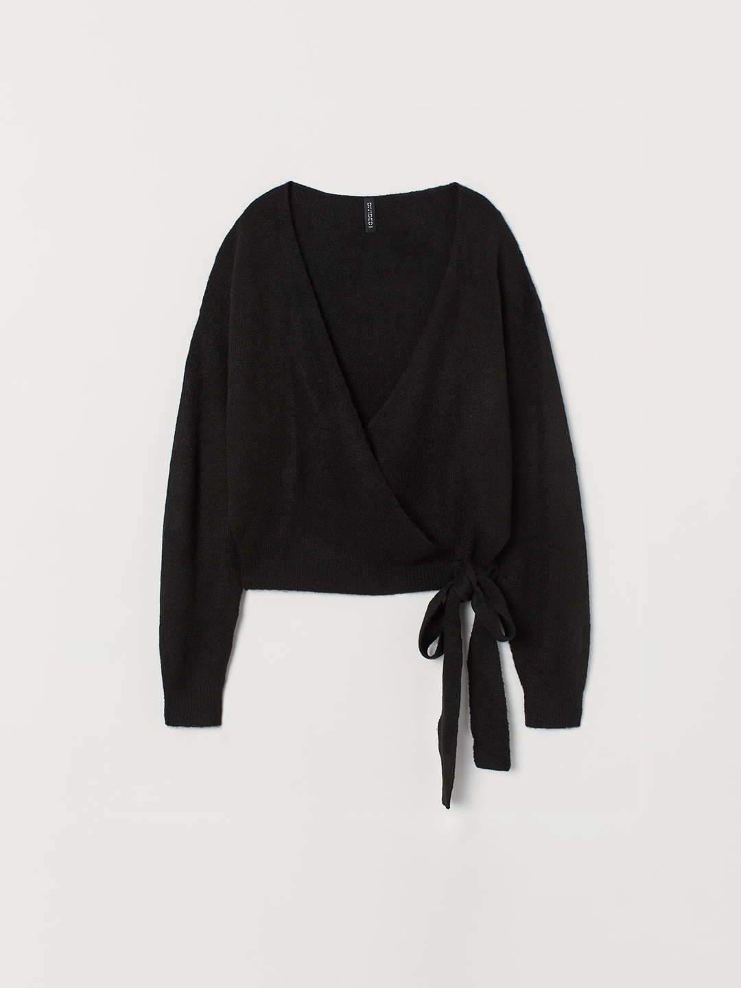 H&M Women Black Knitted Wrapover Cardigan
