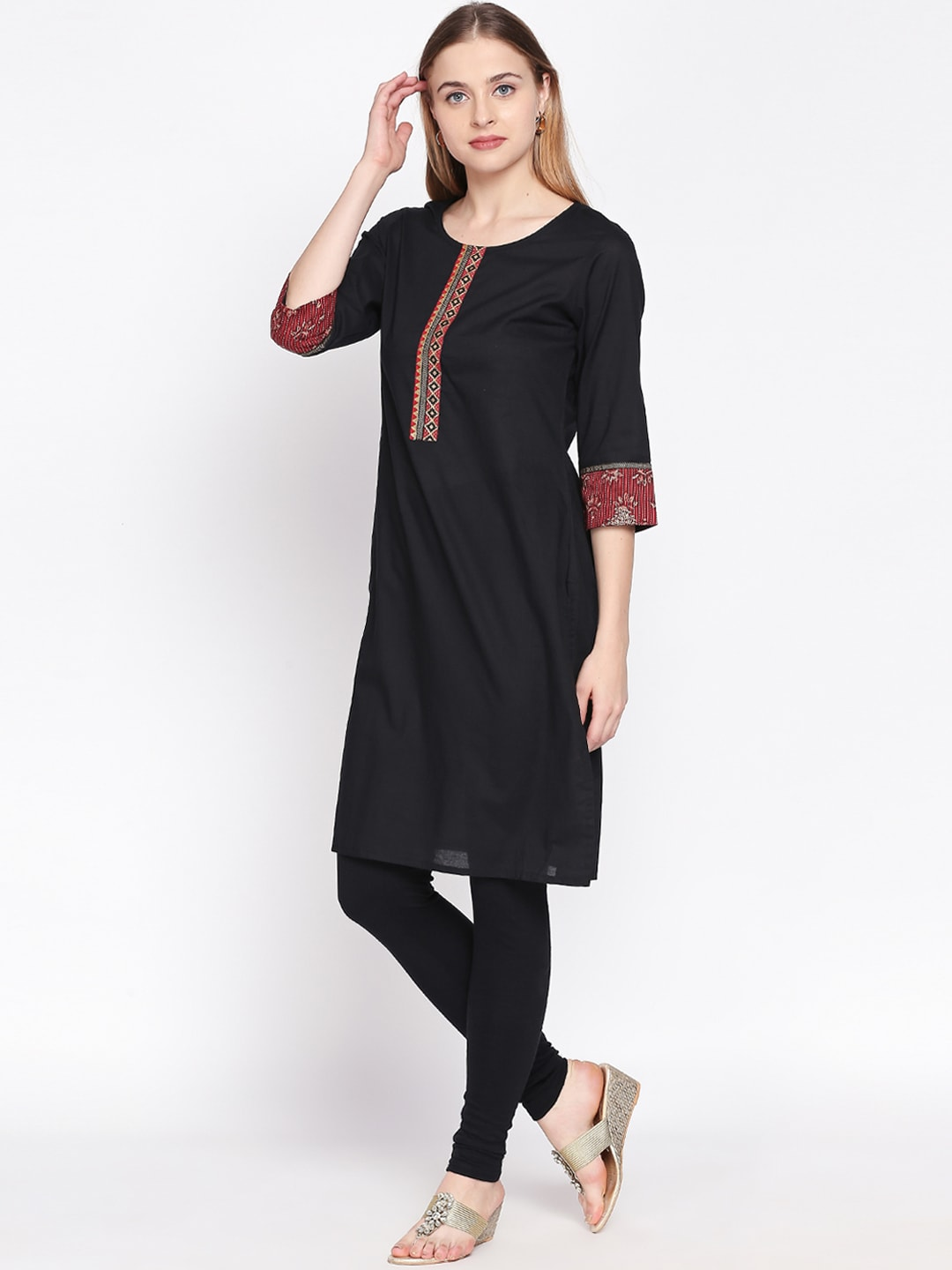 RANGMANCH BY PANTALOONS Women Black Solid Straight Kurta