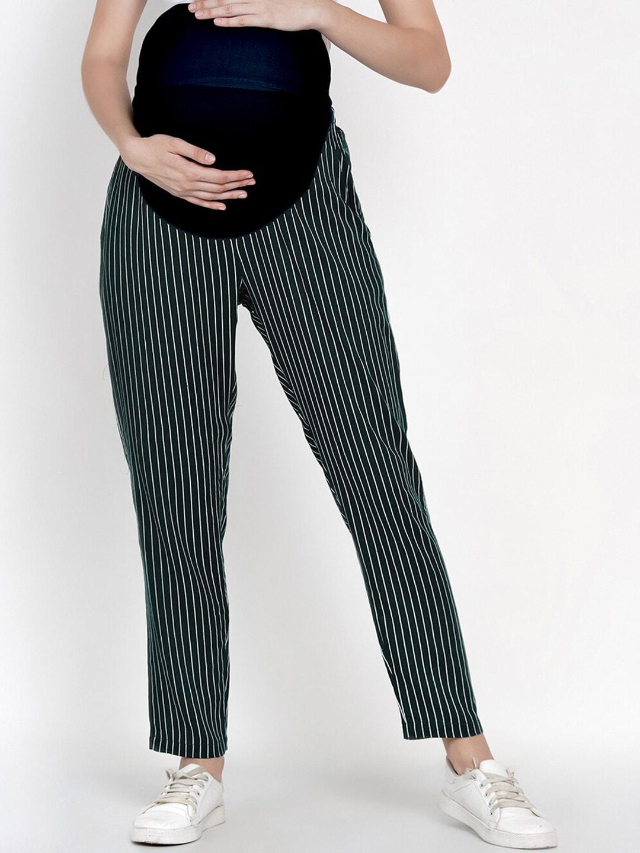 Mine4Nine Women Green & White Straight Fit Striped Maternity Regular Trousers