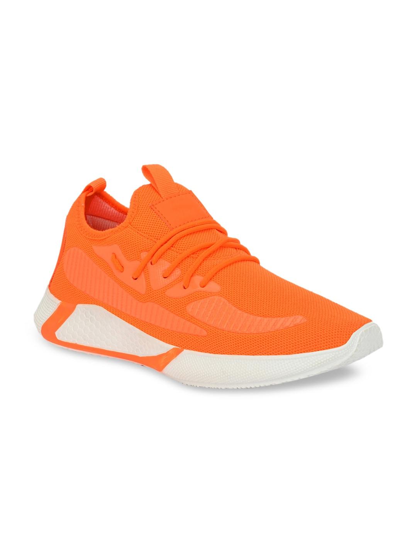 AfroJack Men Orange Solid Mesh Mid-Top Sneakers