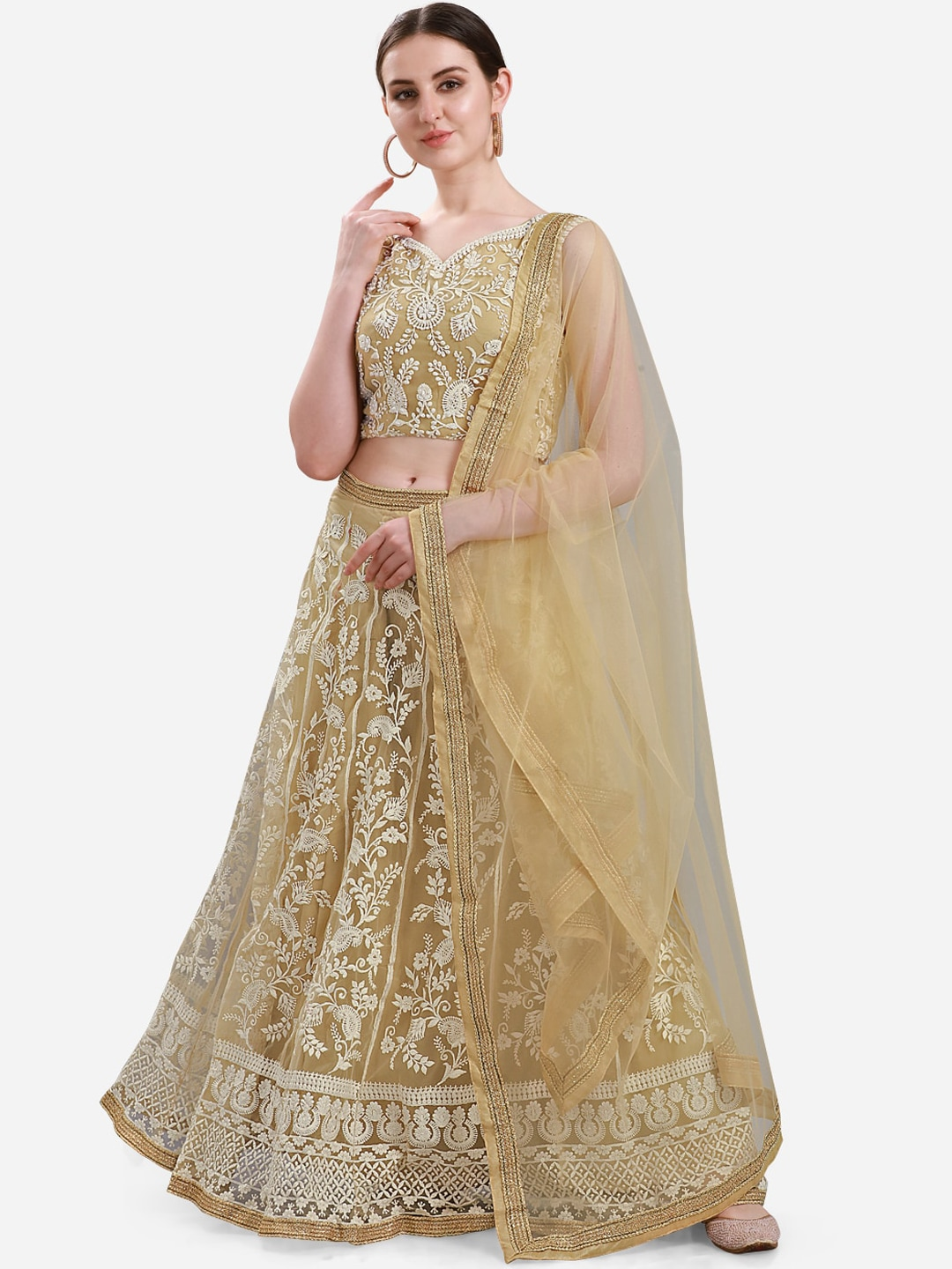 Mitera Beige & Off-White Ready to Wear Lehenga & Semi-Stitched Blouse with Dupatta