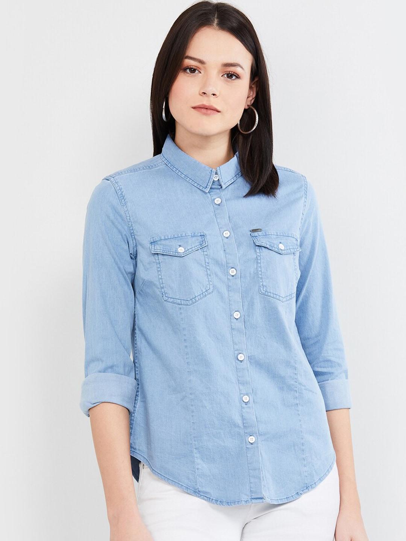 max Women Blue Regular Fit Solid Casual Shirt