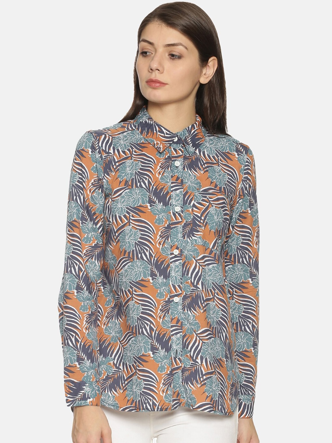 Campus Sutra Women Grey & Green Regular Fit Printed Casual Shirt