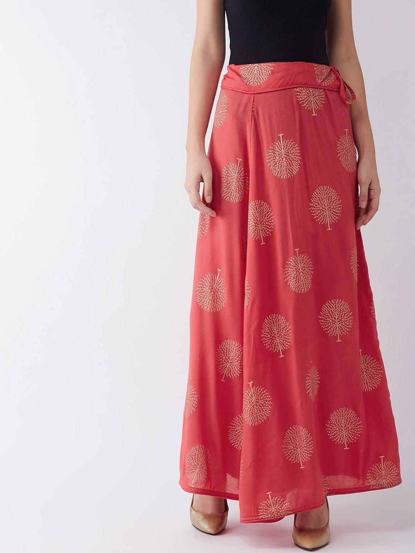 InWeave Women Red & Gold-Toned Printed Skirt