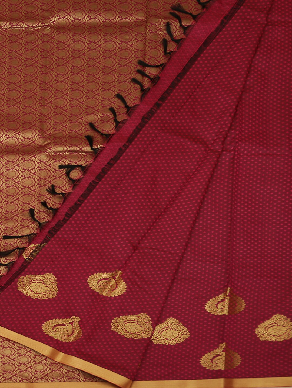 Pothys Pink & Black Art Silk Checked Saree