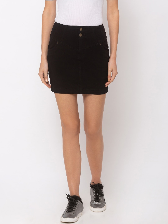 Tarama Women Black Solid Straight Denim Skirt