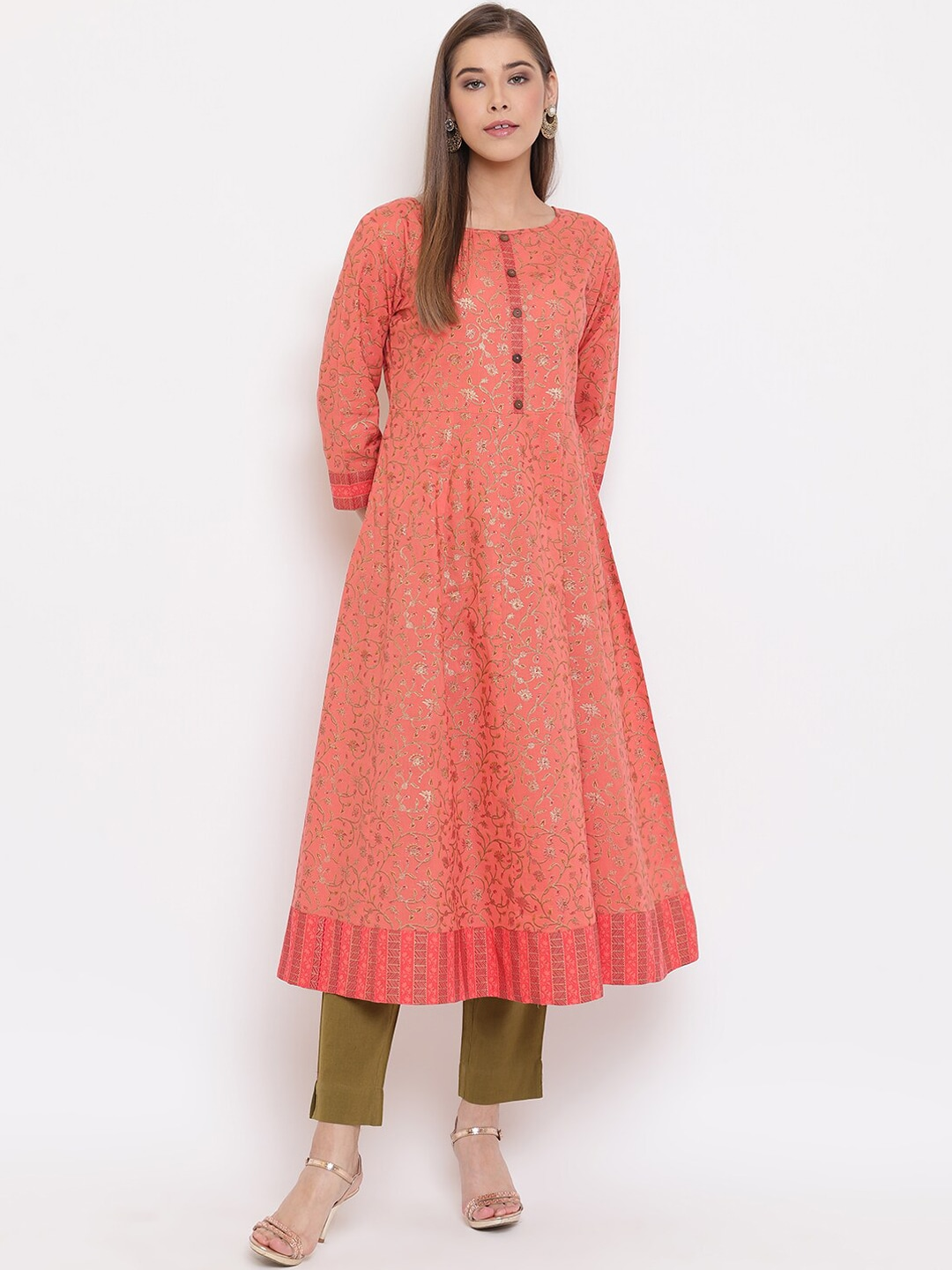 Janasya Women Peach-Coloured Woven Design Anarkali Kurta