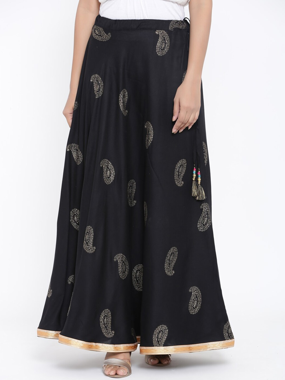 RANGMAYEE Black Printed Flared Maxi Skirt