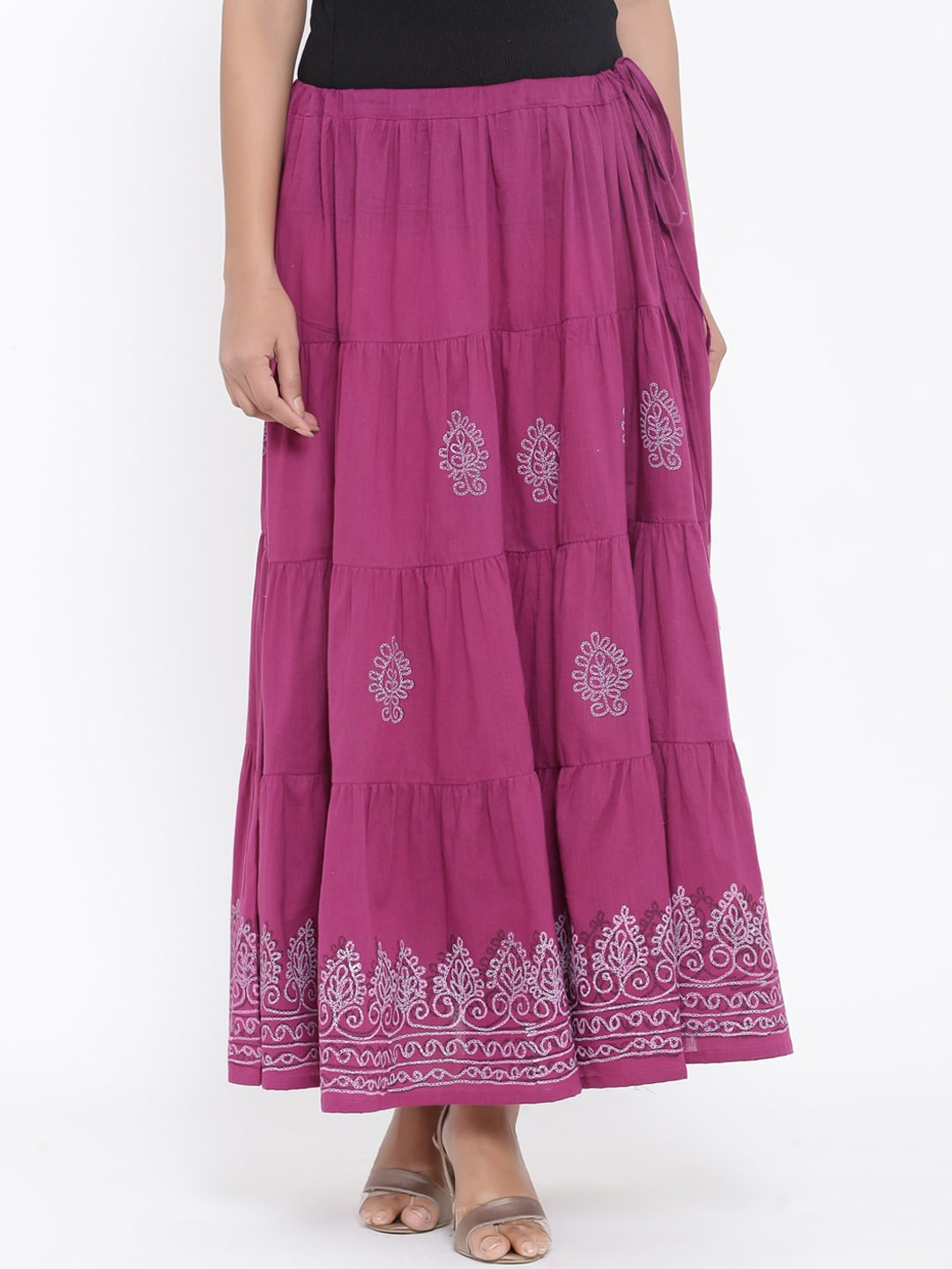 RANGMAYEE Women Purple Paisley Print Maxi Flared Skirt