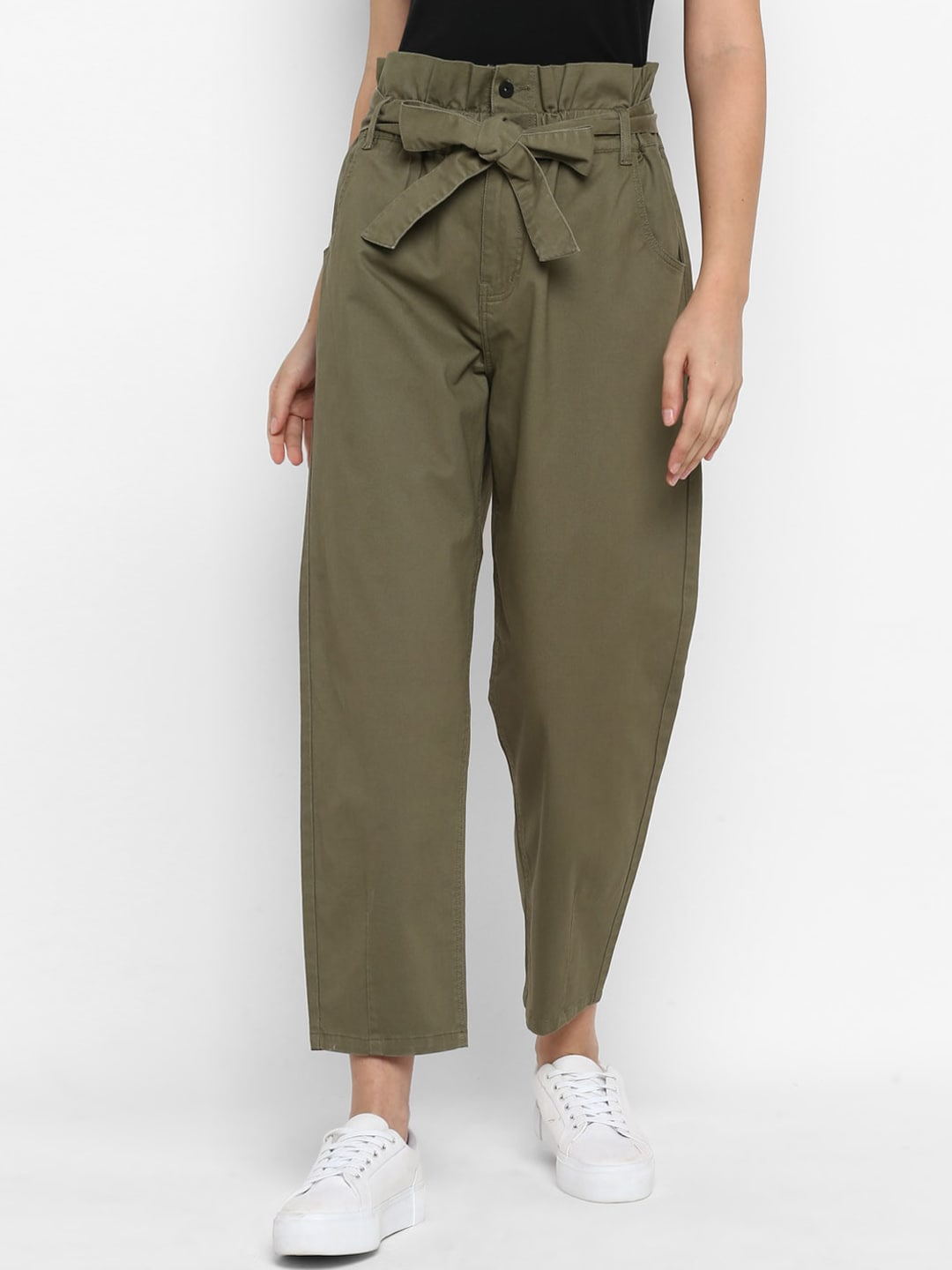 FOSH Women Olive Green Smart Regular Fit Solid Parallel Trousers
