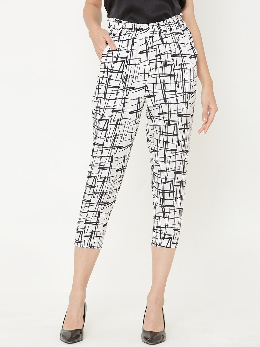 MISH Women Off-White & Black Comfort Regular Fit Printed Regular Trousers