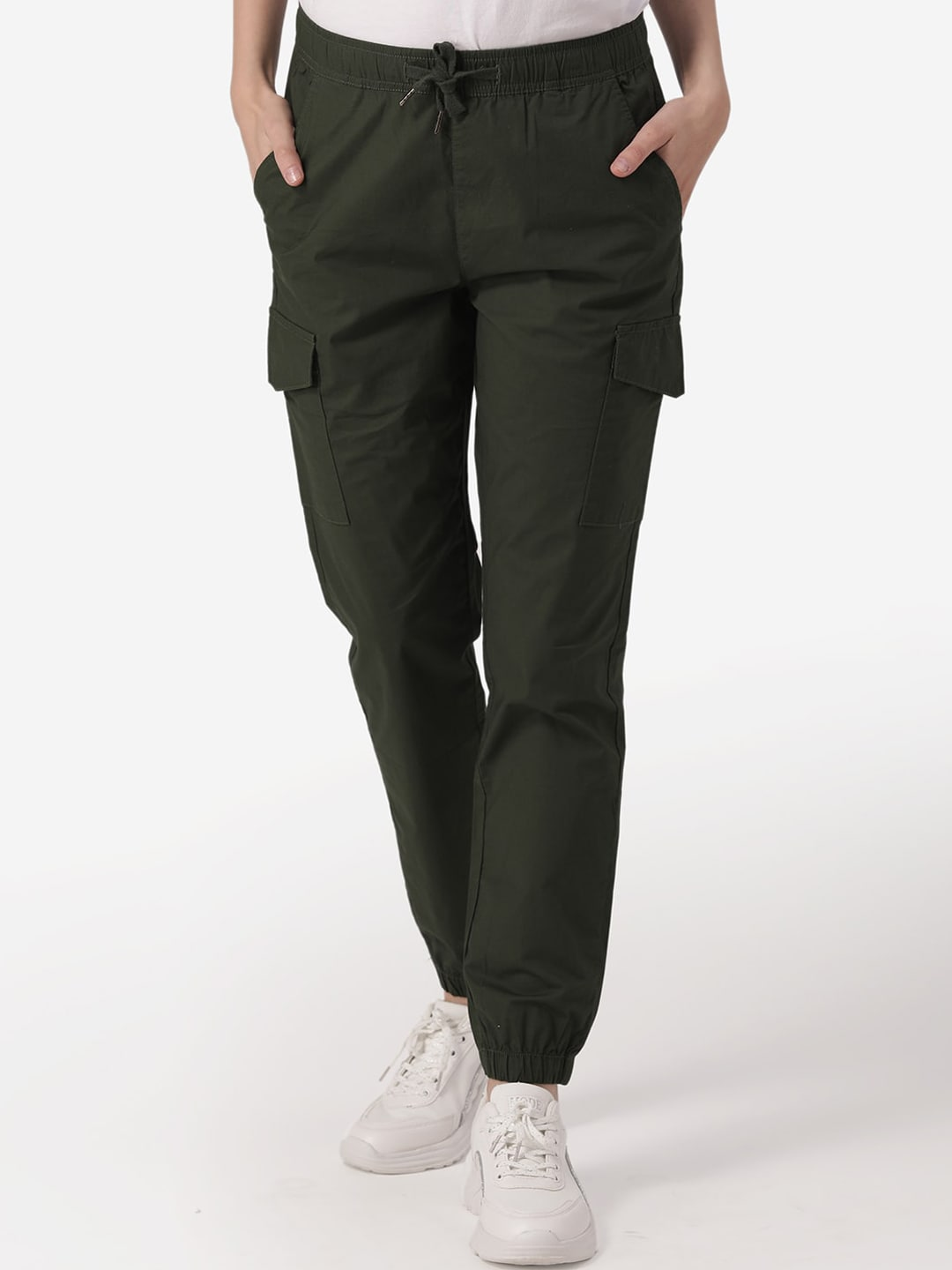 Mode by Red Tape Women Olive Green Slim Fit Solid Joggers
