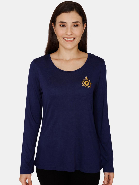 Zivame Women Navy Blue Solid Top