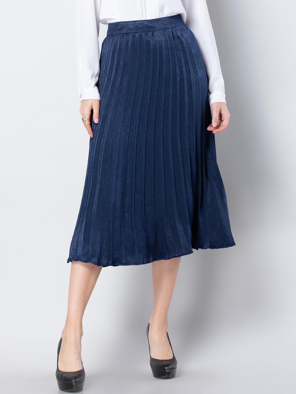 FabAlley Women Blue Solid Flared Skirt