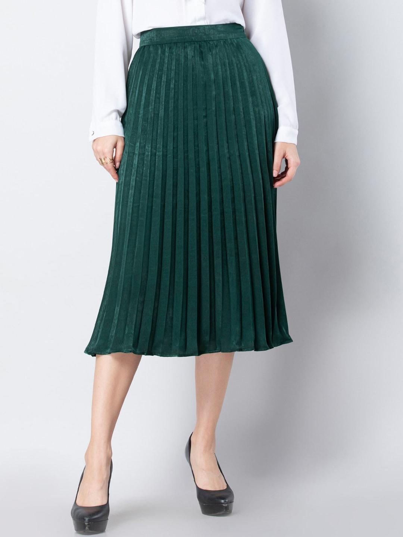 FabAlley Women Green Pleated A-Line Skirt