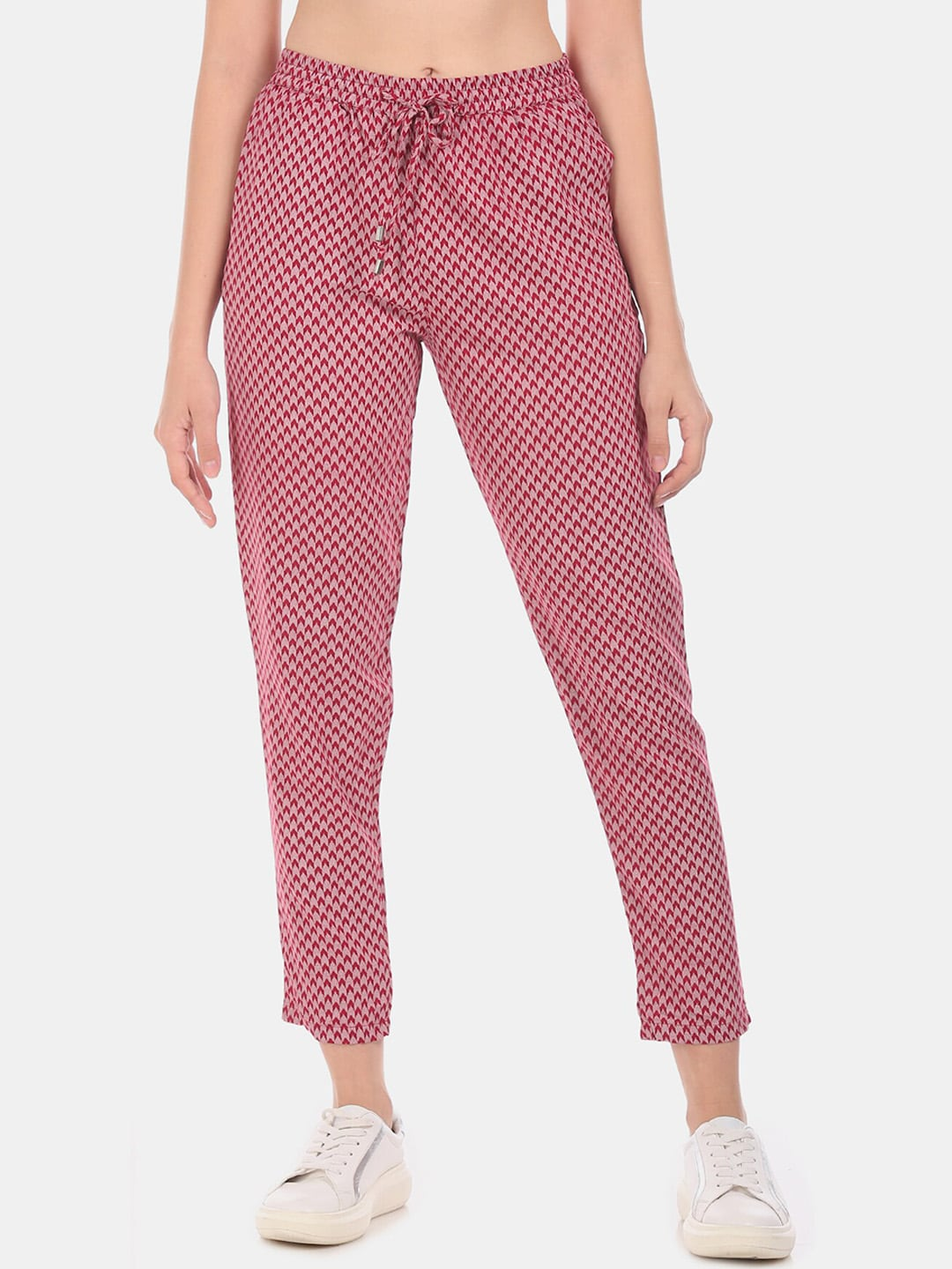Cherokee Women Red & Grey Regular Fit Printed Regular Trousers