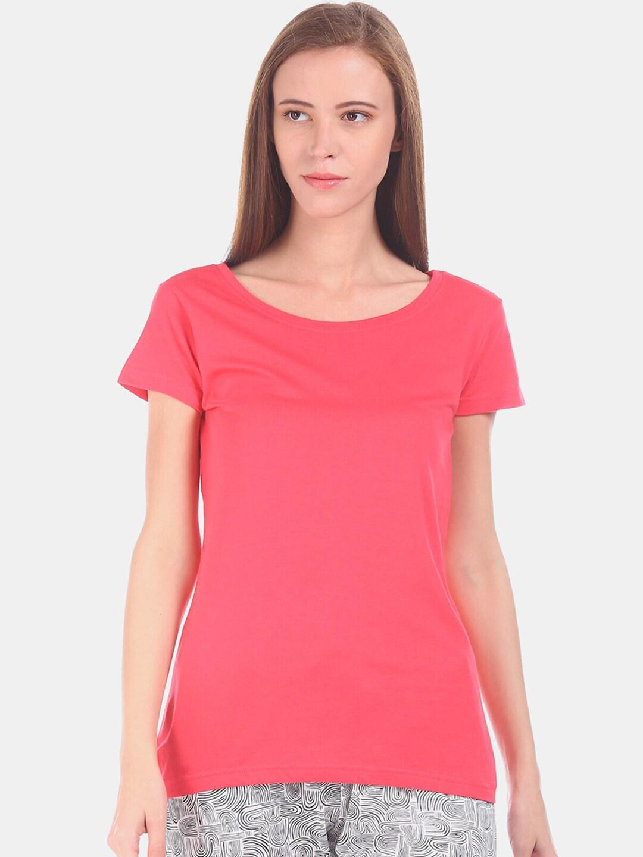Sugr Women Pink Solid Round Neck T-shirt