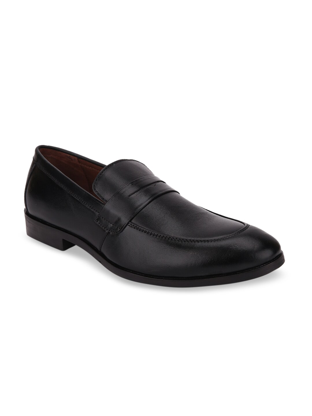 LOUIS STITCH Men Black Solid Leather Formal Slip-Ons