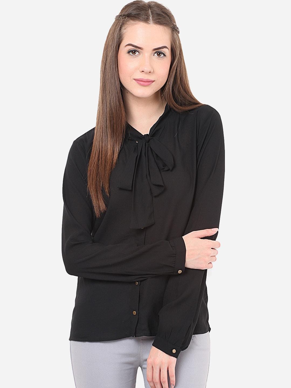 Porsorte Women Black Modern Regular Fit Solid Formal Shirt