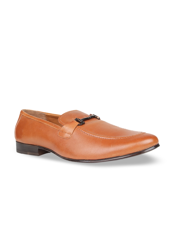 Regal Men Tan Brown Solid Leather Formal Slip-Ons