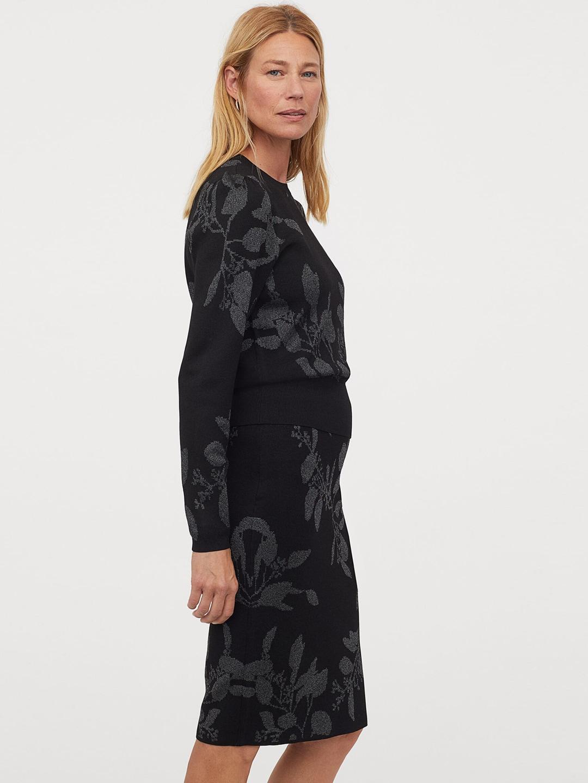 H&M Women Black & Grey Printed Jacquard-knit Skirt