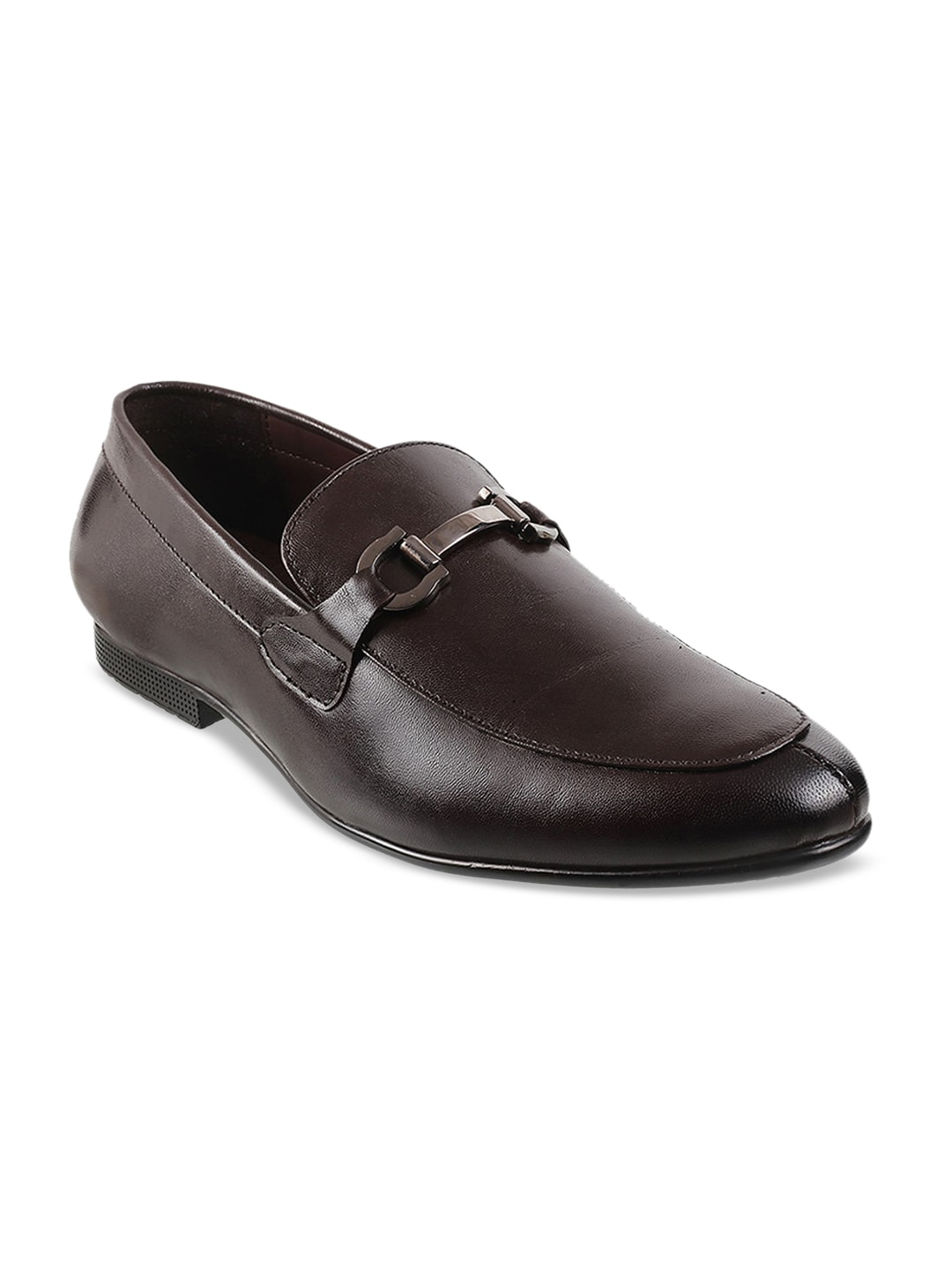 Mochi Men Brown Solid Leather Formal Loafers