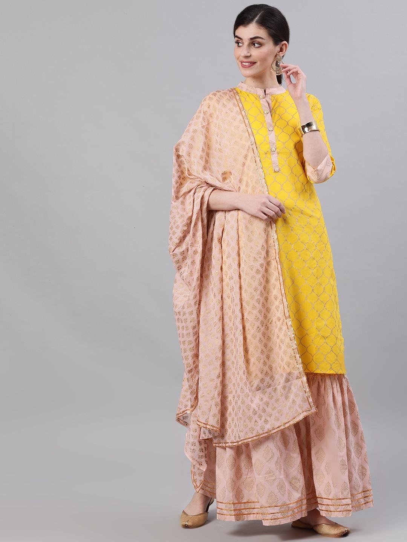 Nayo Women Yellow & Peach-Coloured Printed Kurta with Sharara & Dupatta
