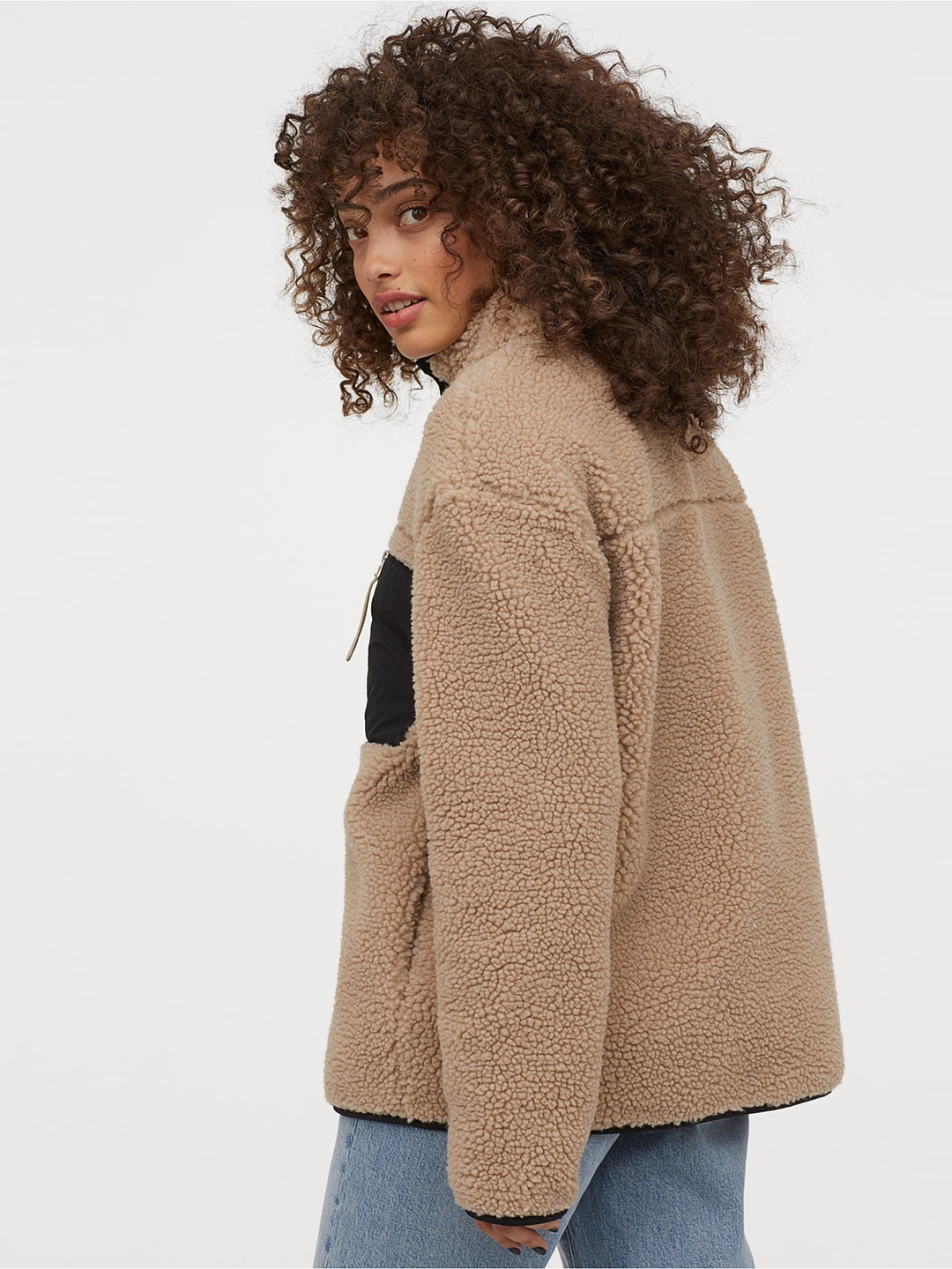 H&M Women Brown Pile Jacket With A Collar