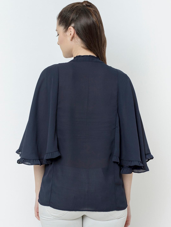 SQew Women Navy Blue Solid Shirt Style Top