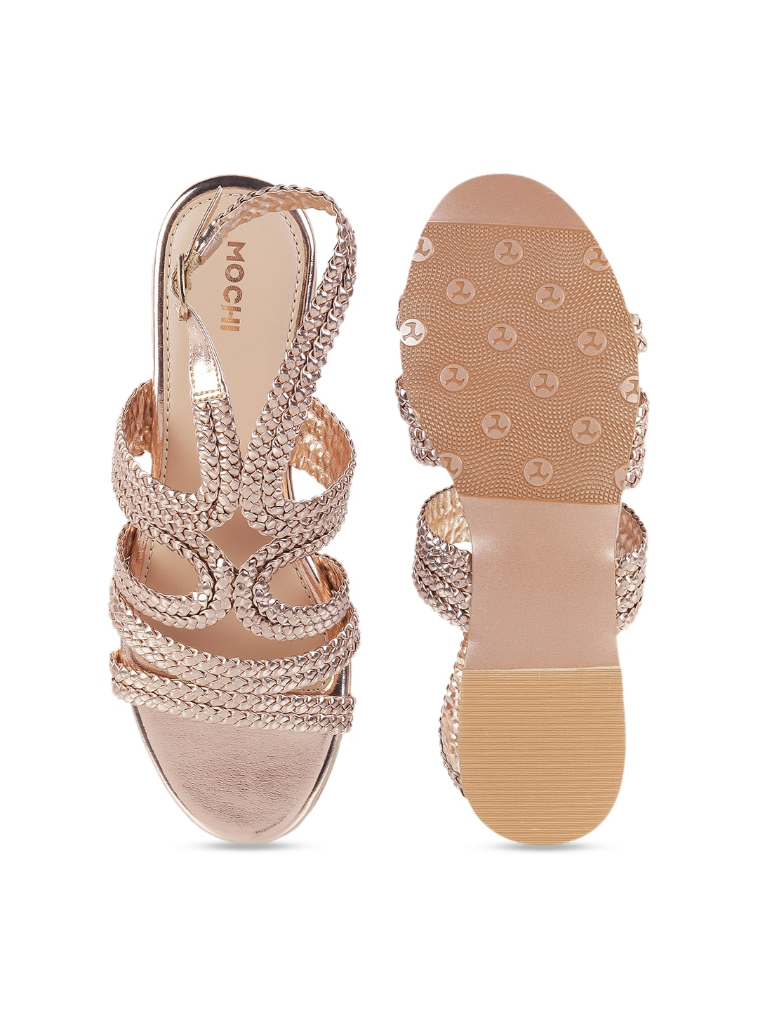 Mochi Women Gold-Toned Textured Open Toe Flats