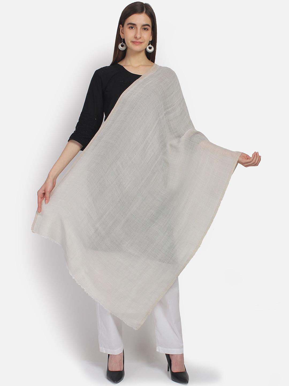 Anekaant Women Cream-Coloured & Gold-Toned Woven Design Woolen Woven Zari Reversible Shawl