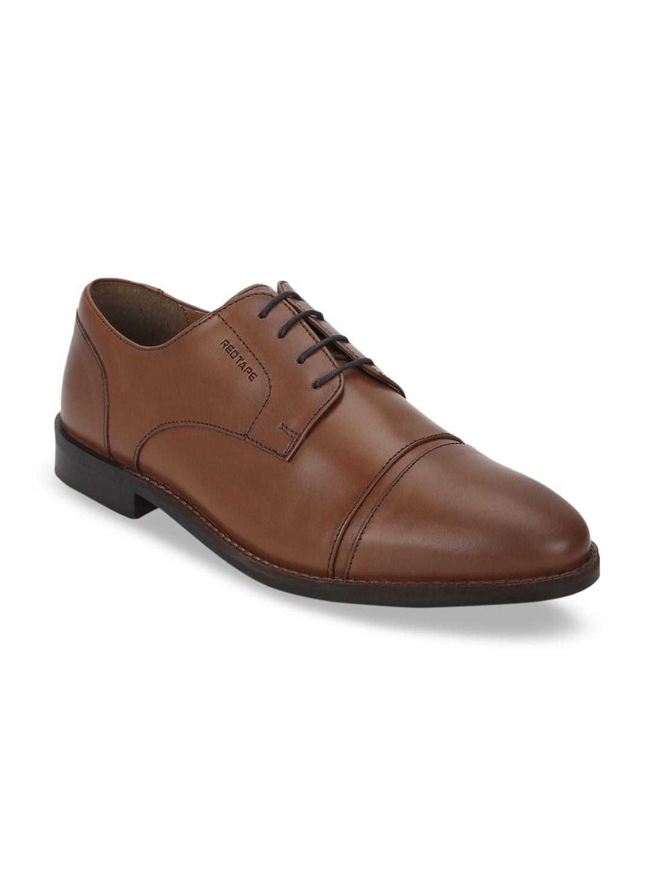 Red Tape Men Tan Brown Solid Formal Genuine Leather Derbys