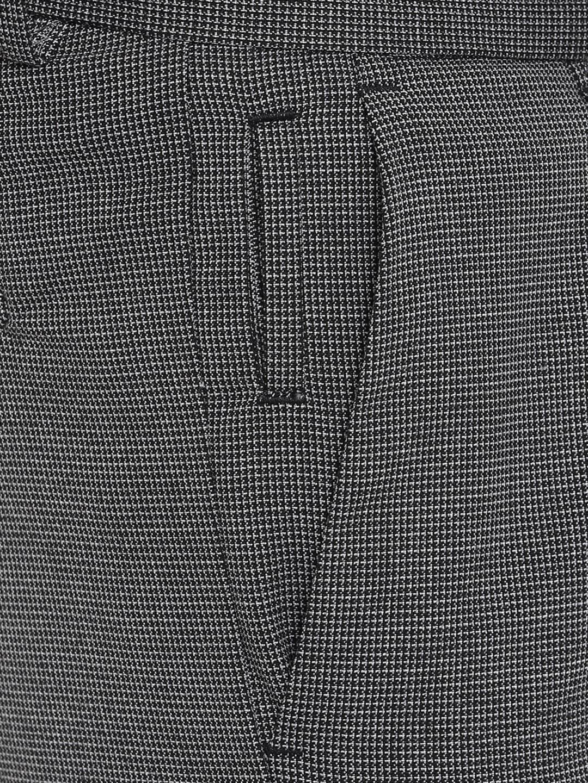 Allen Solly Men Grey Slim Fit Checked Regular Trousers