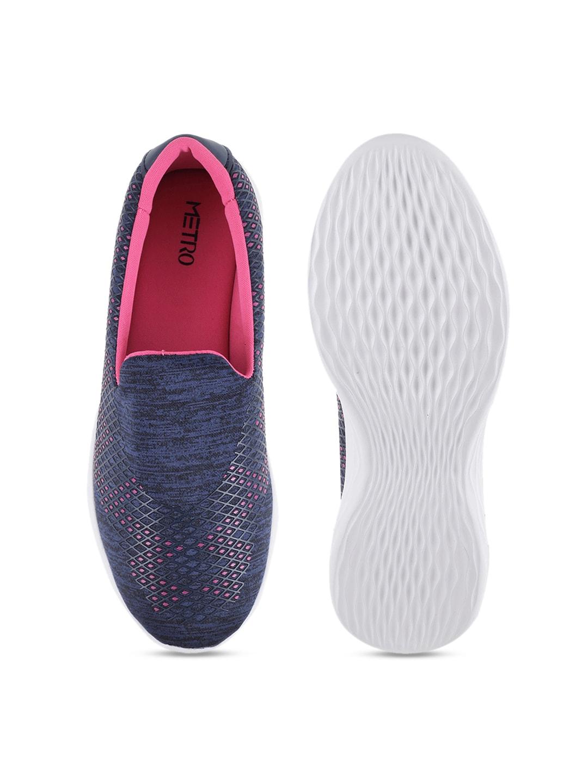 Metro Women Navy Blue Slip-On Sneakers