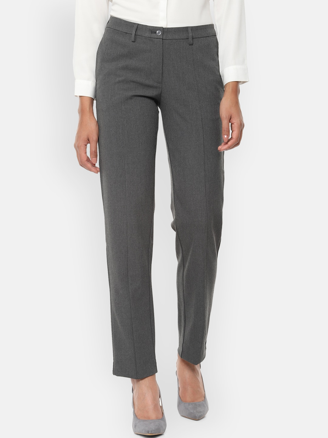 Van Heusen Woman Grey Regular Fit Solid Formal Trousers