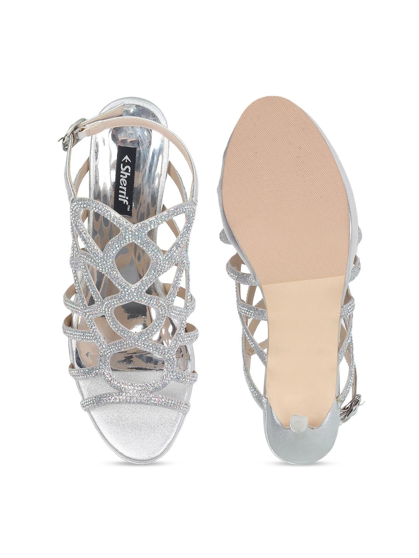 Sherrif Shoes Women Silver-Toned Embellished Heels