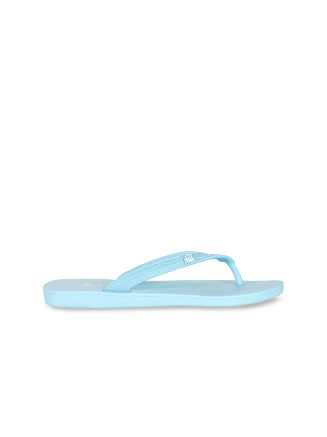 United Colors of Benetton Women Turquoise Blue Printed Thong Flip-Flops
