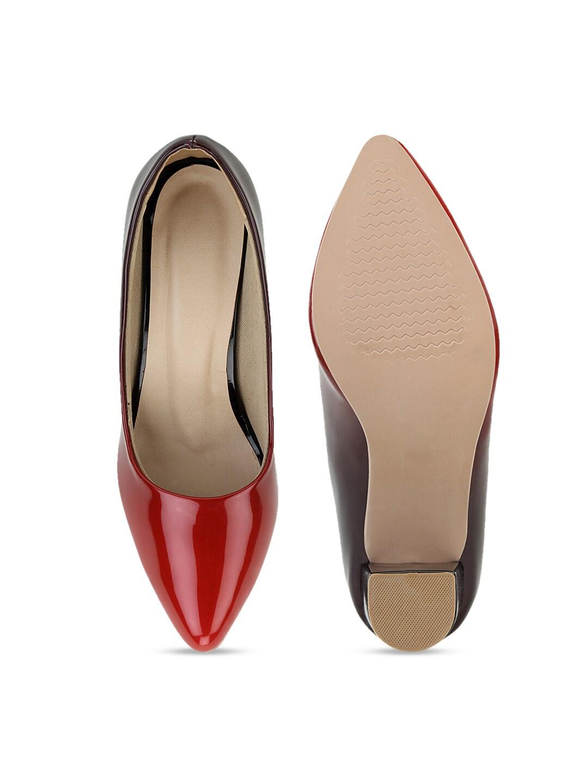 SCENTRA Women Red & Black Colourblocked Block Heels